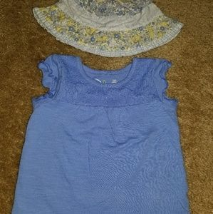 12m Jumping Beans Tee Shirt Lace Periwinkle & Hat